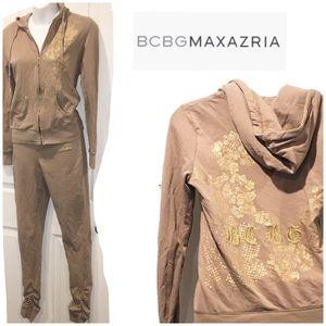 BCBGMAXAZRIA Taupe Gold Silver hoodie pant set SM